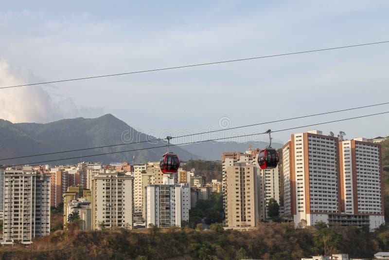 Teleferica veduta da Palo Verde a Caracas, Venezuela immagine stock libera da diritti