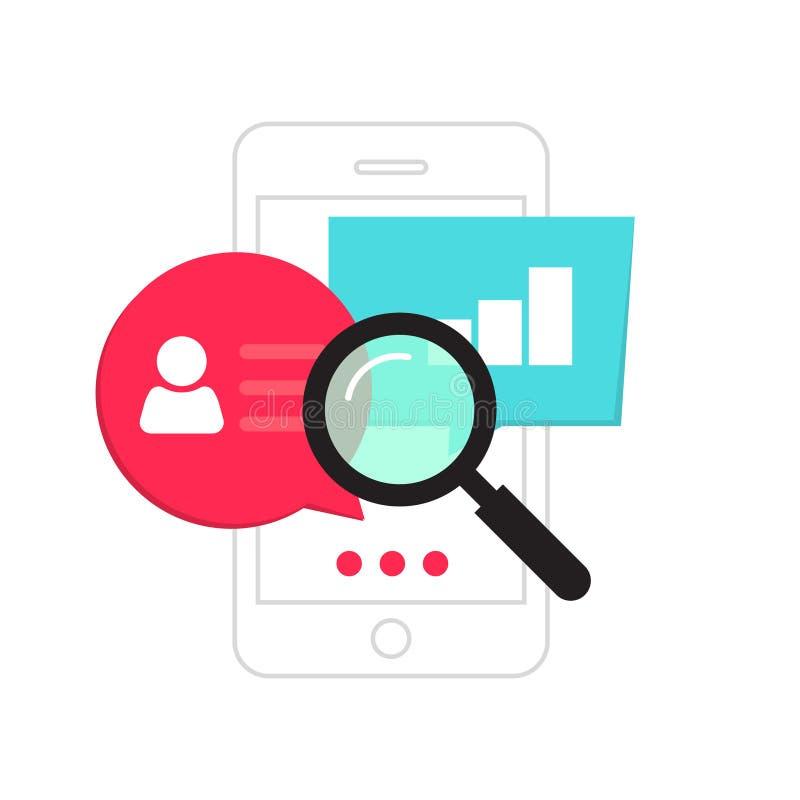 Telefonów komórkowych dane analityka pojęcie, smartphone ogólnospołeczne statystyki analizy, rewizja ilustracja wektor