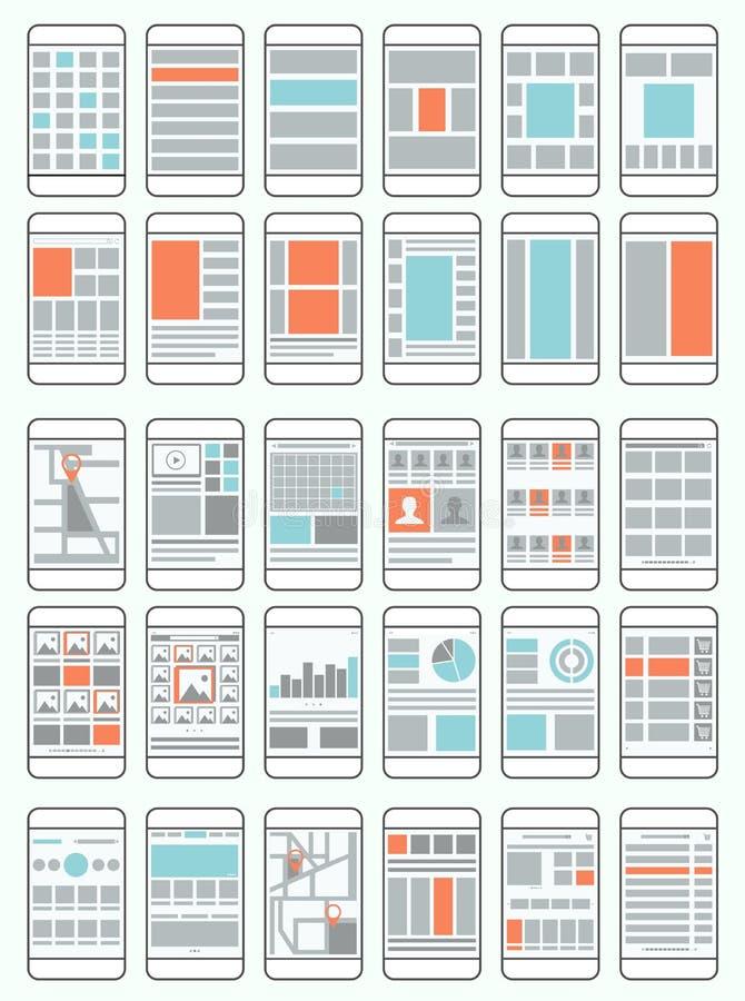 Telefonów komórkowych flowcharts, wireframes ilustracja wektor