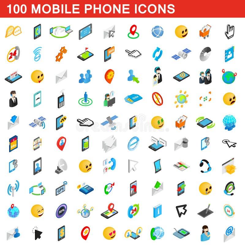 100 telefonów komórkowych ikon ustawiających, isometric 3d styl royalty ilustracja