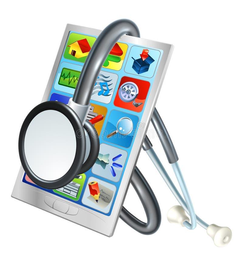 Telefonów Komórkowych zdrowie Remontowy pojęcie ilustracja wektor