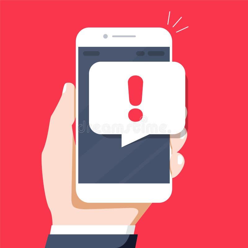 Telefonów powiadomienia, nowa wiadomość otrzymywający pojęcia Ręki mienia smartphone z mowa bąblem ilustracji