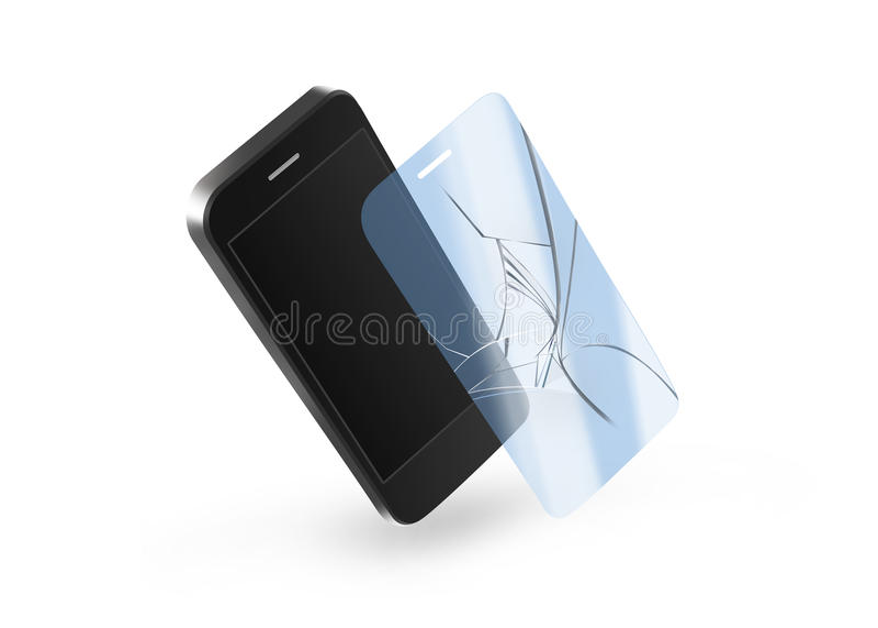 Telefon łamający ochrony szkło z ekranem Smartphone pokaz ilustracji