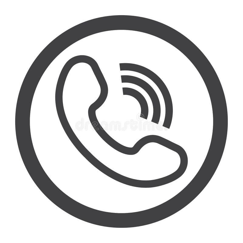 Telefon-Anruflinie Ikone, treten uns und mit Website in Verbindung lizenzfreie abbildung