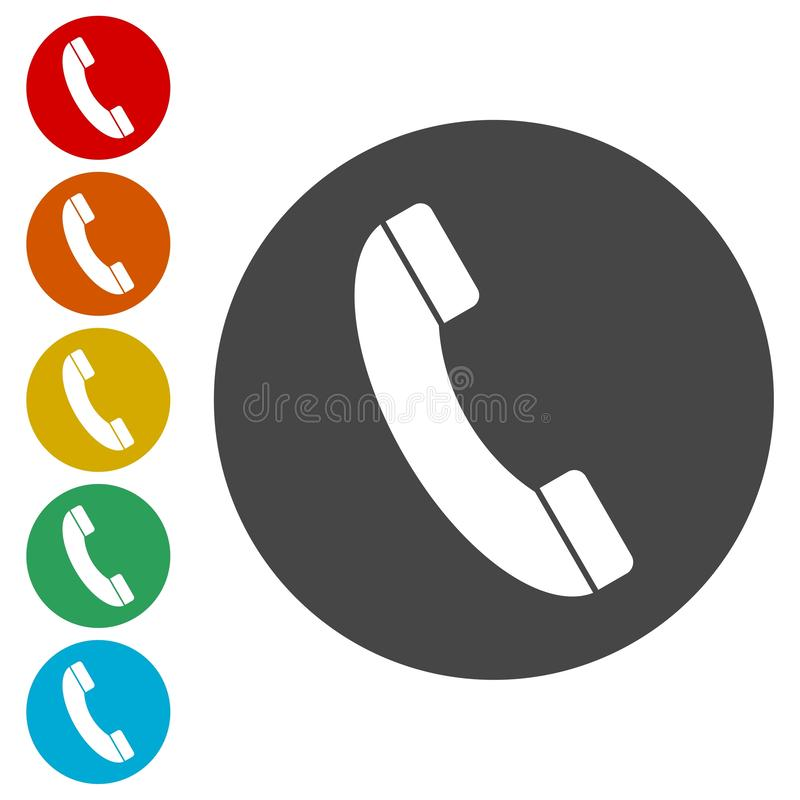 Telefon-Anrufvektorikone Art ist flach gerundetes Symbol stock abbildung