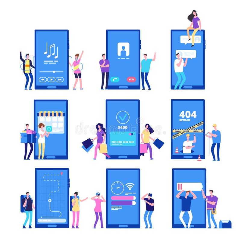 Telefon app och folk Små plana tecken påverkar varandra med uppsättningen för smartphoneapplikationvektorn vektor illustrationer