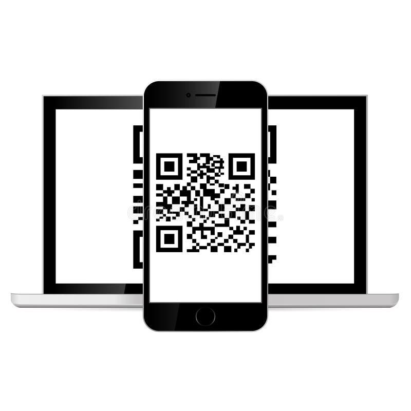 Telefon avläst QR-kod bakgrund isolerad white också vektor för coreldrawillustration vektor illustrationer