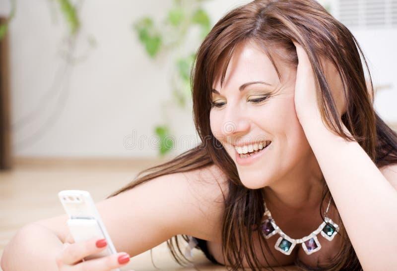 telefon biała kobieta zdjęcia stock