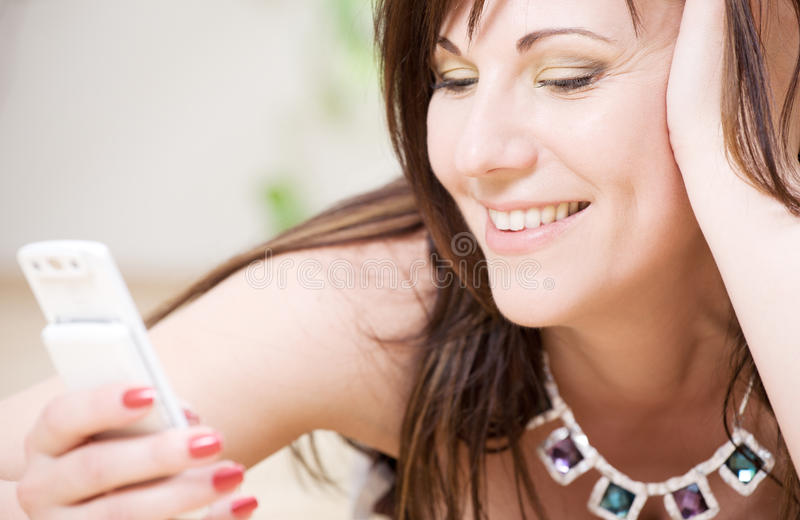 telefon biała kobieta obraz stock