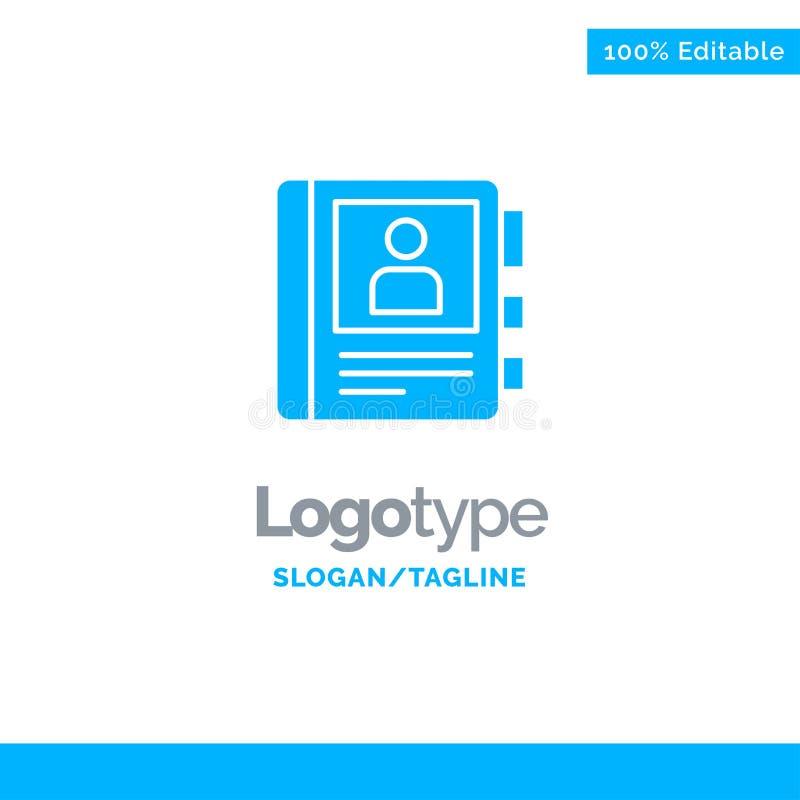 Telefon, Buch, Tagebuch, Informationen blauer fester Logo Template Platz f?r Tagline stock abbildung