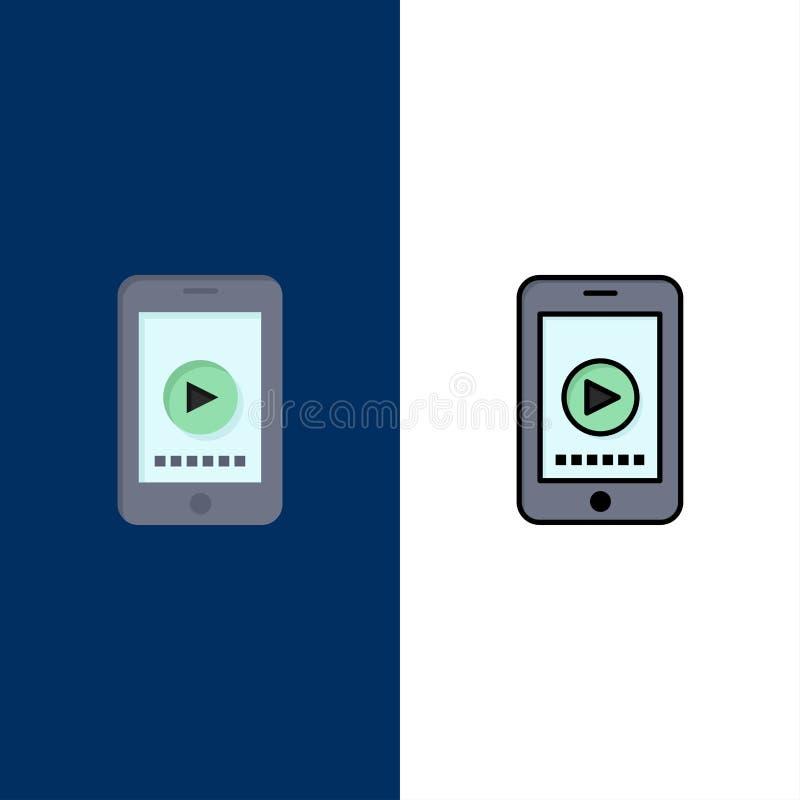 Telefon cell, lek, videopp symboler Lägenheten och linjen fylld symbol ställde in blå bakgrund för vektorn royaltyfri illustrationer