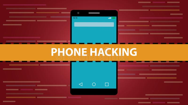 Telefon, das Konzept mit Smartphone zerhackt und Kerbenskriptcode als Hintergrund programmiert lizenzfreie abbildung
