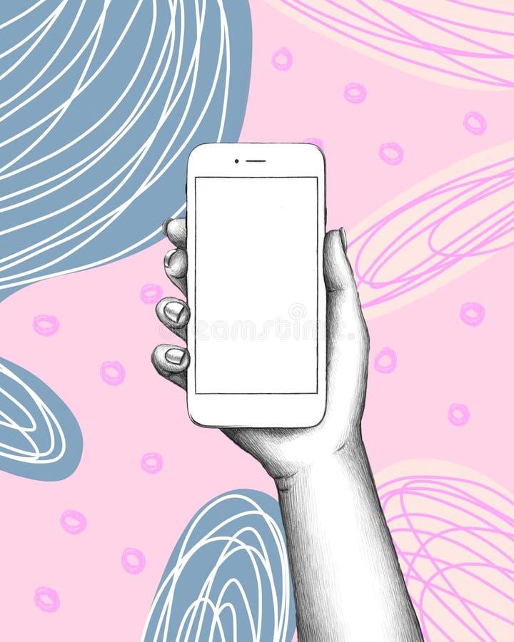 Telefon in der Hand auf abstraktem Hintergrund lizenzfreie abbildung