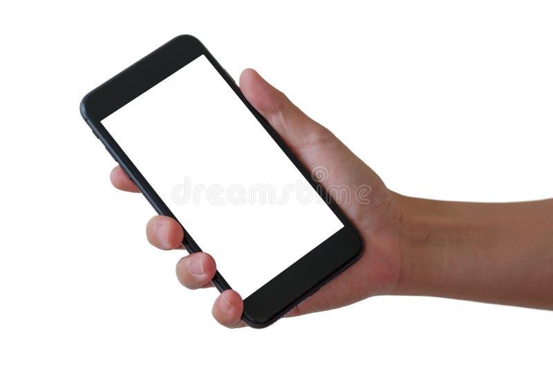 Telefon in der rechten Hand stockfotografie