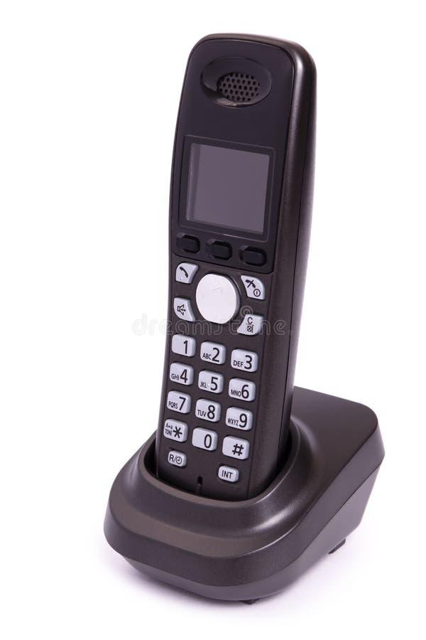 Telefon der schwarzen Farbe, digital, drahtlos, getrennt stockfoto