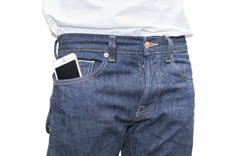 Telefon in der Tasche Blue Jeans-Denim stockfotografie