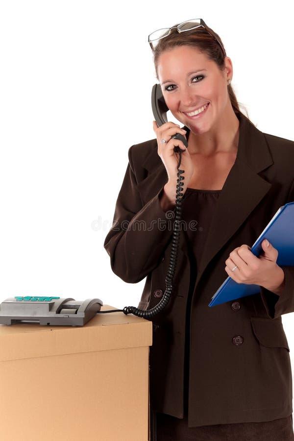 Telefon des Sekretärs Postpaket stockbild