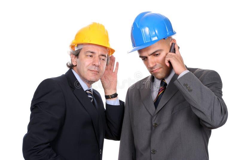 telefon dwóch inżynierów architektów zdjęcia stock