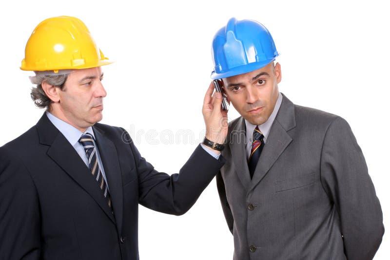 telefon dwóch inżynierów architektów zdjęcie stock