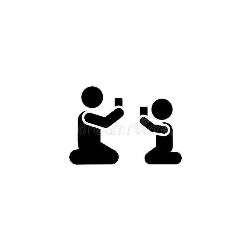 Telefon, dziecko, ojciec, sztuka, gemowa ikona Element dziecko piktogram Premii ilo?ci graficznego projekta ikona podpisz symboli ilustracji