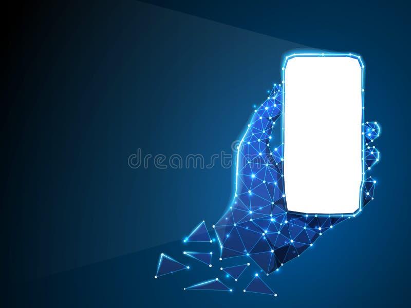 Telefon in einer Hand Abstraktes Neon-3d Polygonales Vektortechnologiekonzept des Gerätes, Gerät, Smartphone niedriges Poly stock abbildung