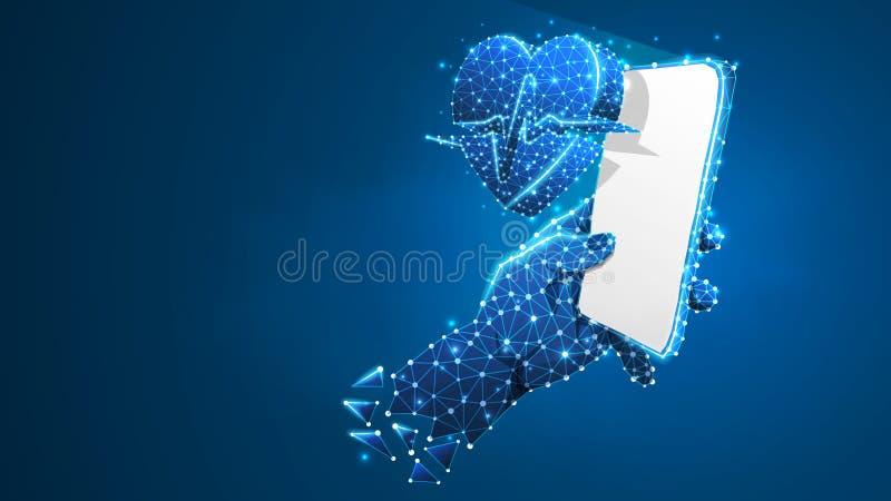 Telefon in einer Hand mit Herzimpulslinie Symbol Polygonale Internet-Behandlung, bewegliches Gesundheitswesenkonzept r stock abbildung