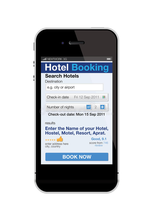 telefon för bokninghotellmobil royaltyfri illustrationer