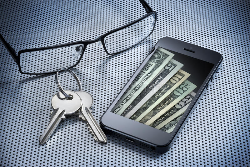 Telefon för cell för Digital pengarplånbok royaltyfri fotografi