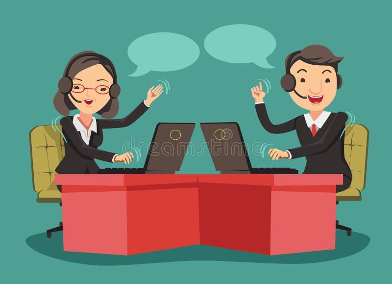 telefon för främre kontor för cell för ett affärsaffärsmanfelanmälan som talar till barn stock illustrationer
