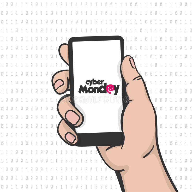 Telefon för håll för konst för pop för hand för Cybermåndag man stock illustrationer