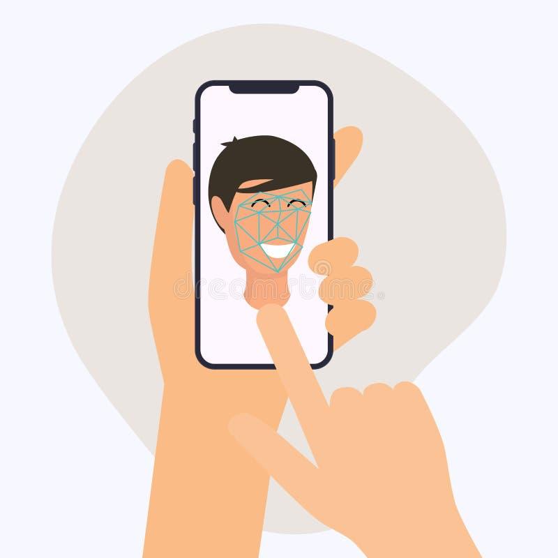 Telefon för hållande mobil för hand smart med framsidaerkännande app Vecto stock illustrationer