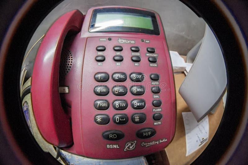 TELEFON FÖR LEGITIMATION FÖR BSNL-LANDLINECALLER arkivfoto