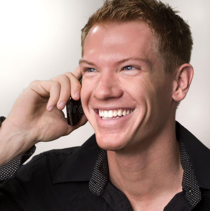 telefon för man för affärscellholding royaltyfri foto