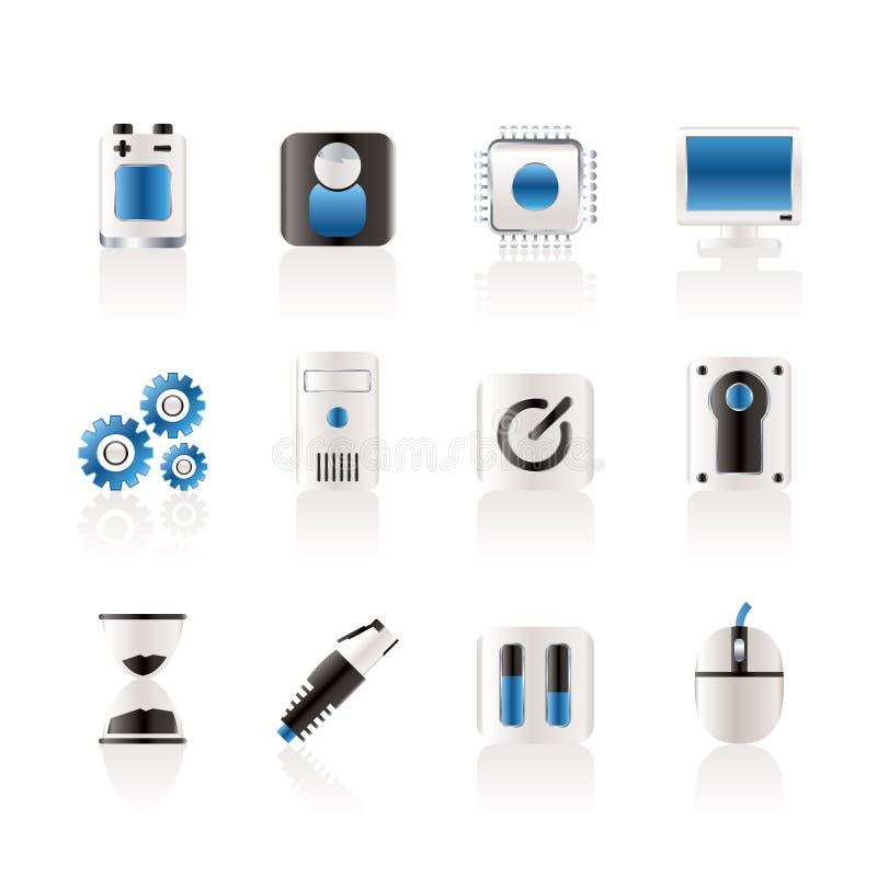 telefon för mobil för datorelementsymboler stock illustrationer