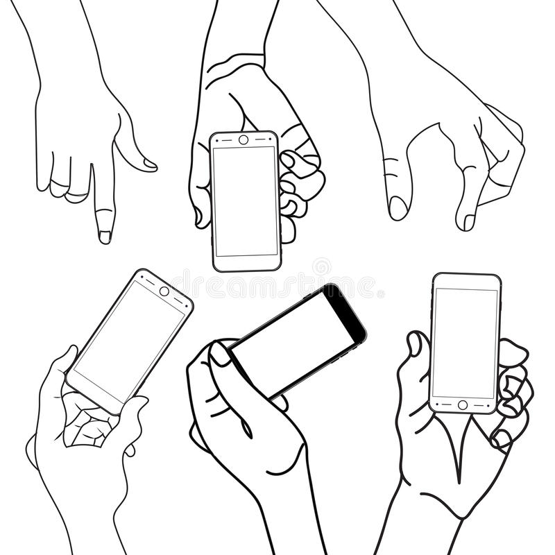 Telefon för mobil för handinnehavhandlag smart stock illustrationer