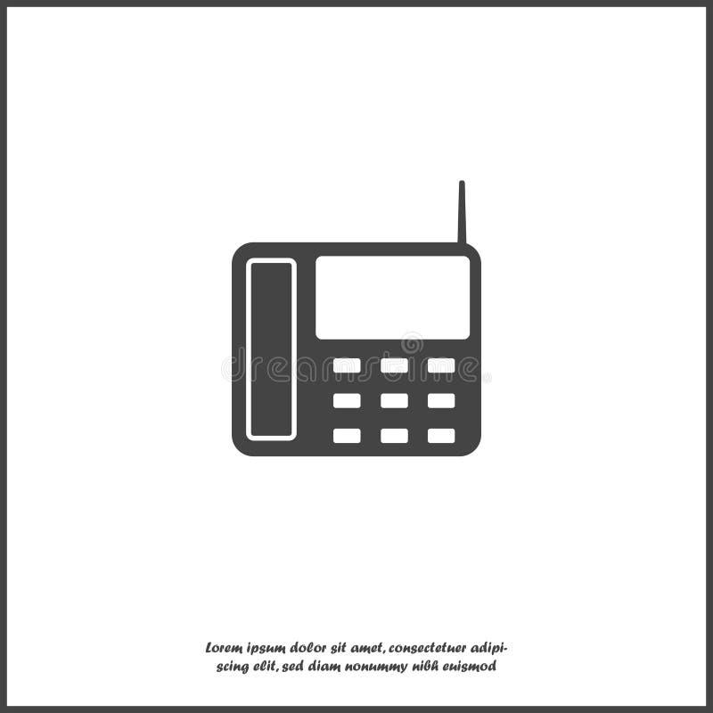 Telefon för vektorsymbolslandline med knappar på vit isolerad bakgrund Lager som grupperas för lätt redigerande illustration För  royaltyfri illustrationer