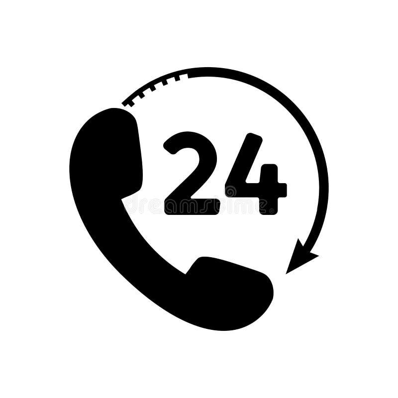 Telefon 24 godziny ikony w mieszkanie stylu royalty ilustracja