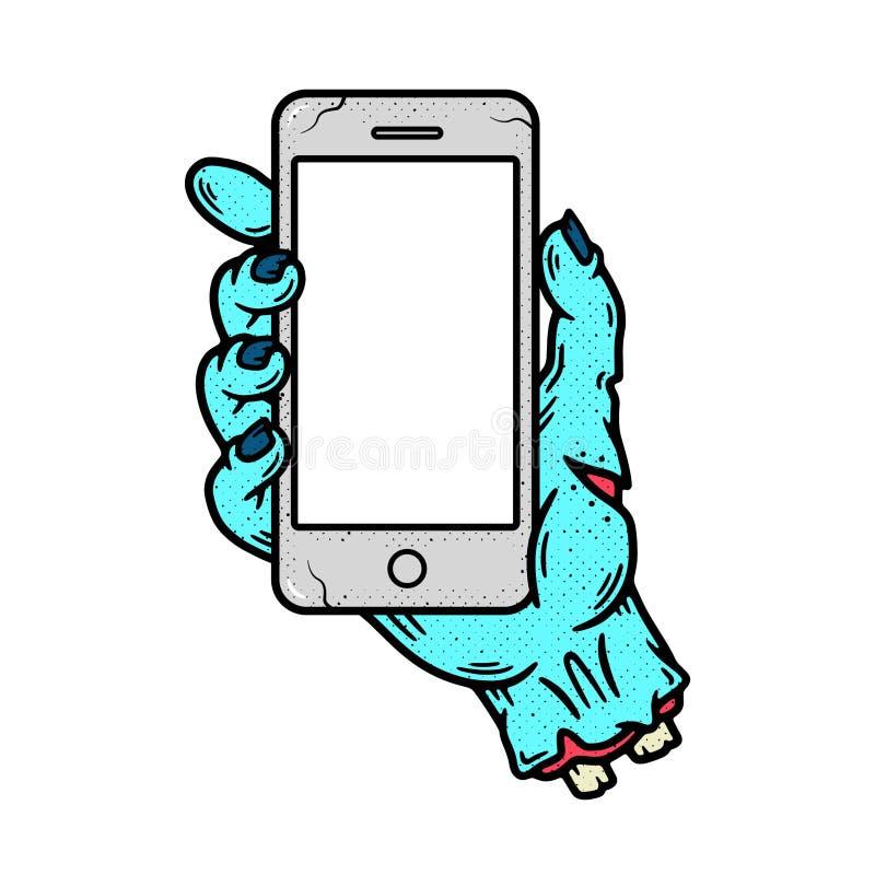 TELEFON I BAKGRUND FÖR TEXTUR FÖR LEVANDE DÖDHANDGRUNGE VIT royaltyfri illustrationer