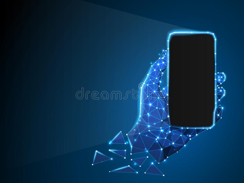 Telefon i en hand Abstrakt neon 3d Polygonal vektorteknologibegrepp av apparaten, grej, smartphone lågt poly vektor illustrationer