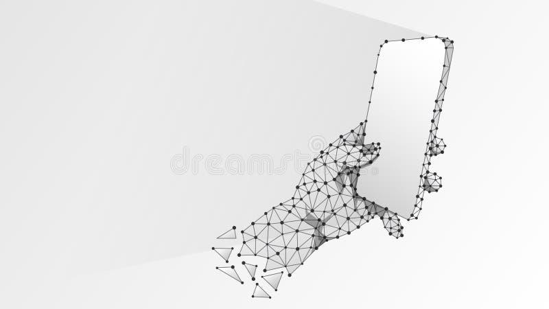 Telefon i en hand Polygonal teknologibegrepp av apparaten, grej, maskinskrivning, smartphoneanvändning Abstrakt digitalt, wirefra stock illustrationer