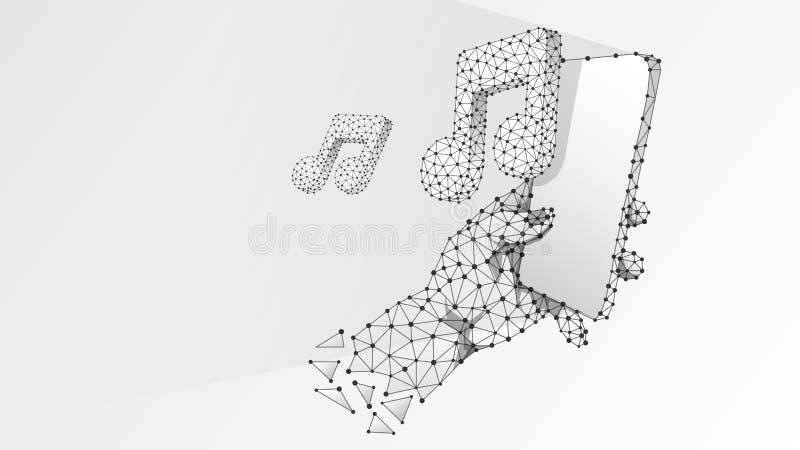Telefon i en hand som spelar musik Polygonal teknologi av apparaten, anmärkning, ljud, smartphonespelarebegrepp Abstrakt digital  vektor illustrationer