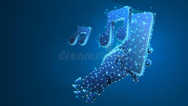 Telefon i en hand som spelar musik Polygonal teknologi av apparaten, anmärkning, ljud, smartphonespelarebegrepp Abstrakt digitalt stock illustrationer