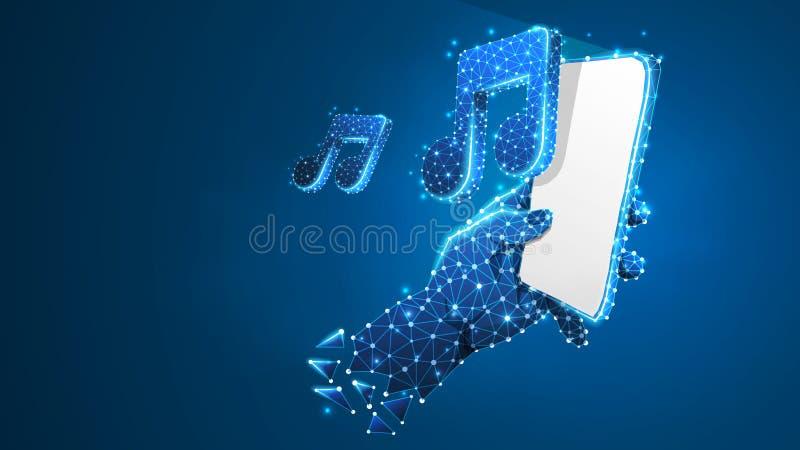 Telefon i en hand som spelar musik Polygonal teknologi av apparaten, anmärkning, ljud, smartphonespelarebegrepp Abstrakt digitalt vektor illustrationer