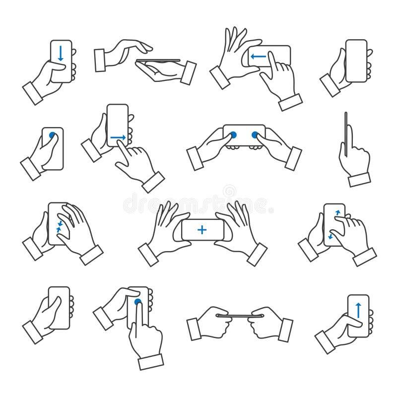 Telefon i hand med gestsymboler vektor illustrationer