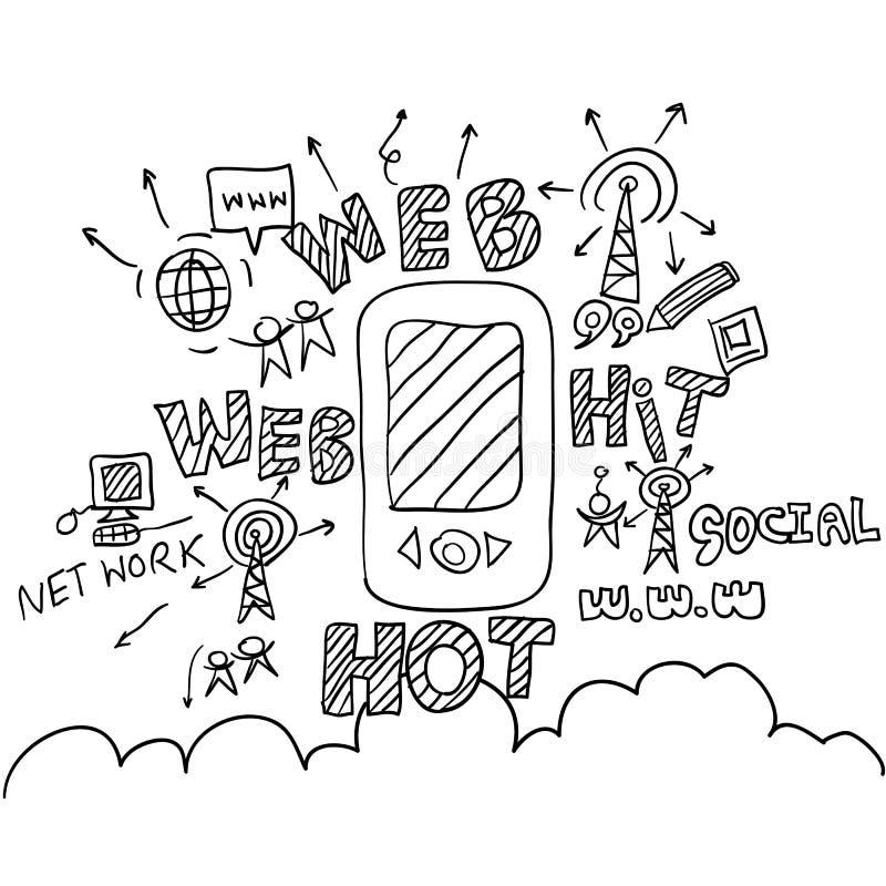 Telefon i kolaż z sieci ikon tłem royalty ilustracja