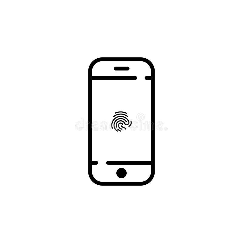 telefon ikona na parawanowym odcisk palca wektorowy symbol EPS10 ilustracja wektor