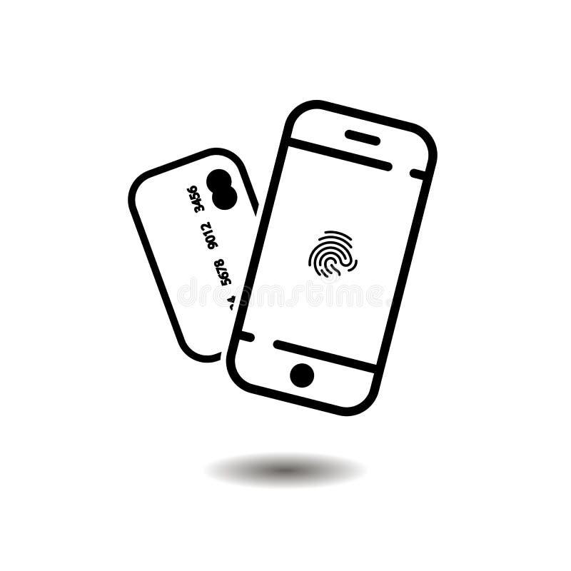 Telefon ikona odcisk palca i karta kredytowa wektorowy symbol EPS10 ilustracja wektor