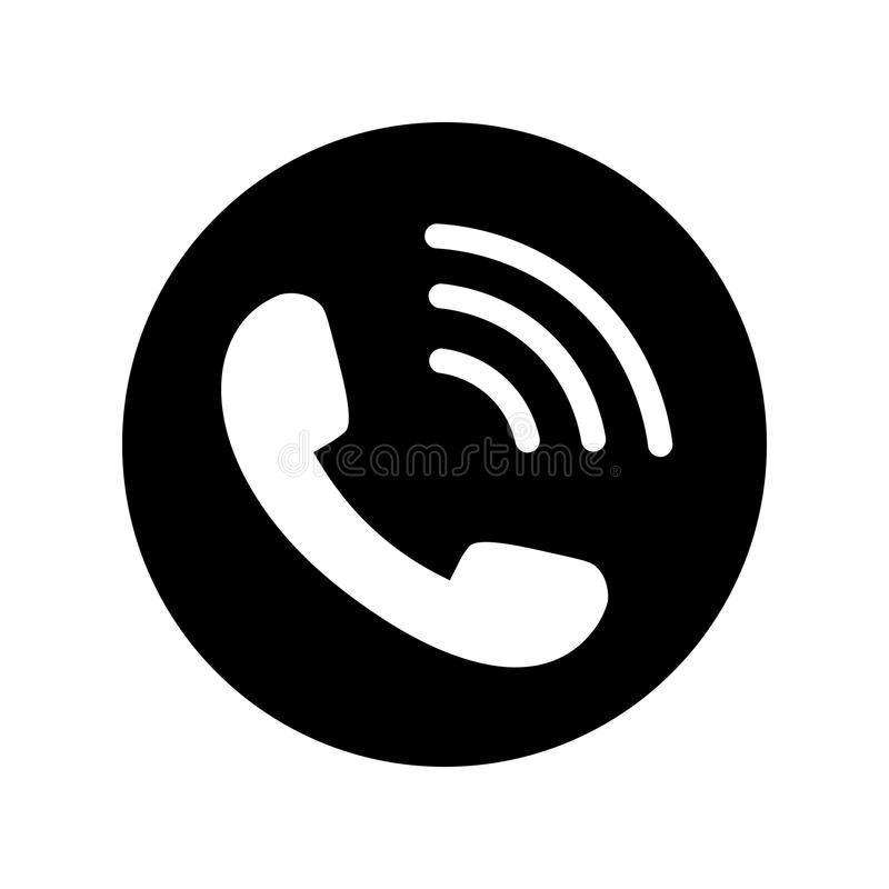 Telefon ikona w czarnym okręgu Telefoniczny symbol royalty ilustracja