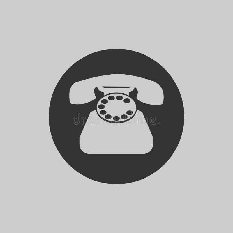 Telefon ikona w mieszkanie stylu odizolowywającym na szarym tle symbolu retro telefon ilustracja wektor
