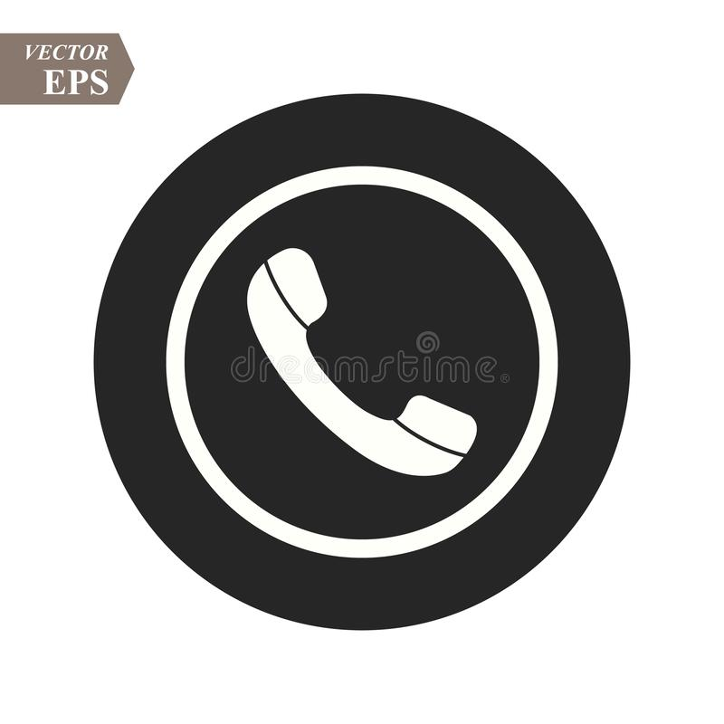 Telefon ikona w modnym mieszkanie stylu odizolowywającym na popielatym tle Handset ikona z fala Telefoniczny symbol dla twój proj ilustracji
